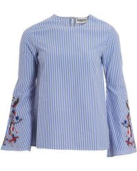 Essentiel Antwerp - Paradise Blouse, Blue Pin Stripe Embroidered Top - Lyst