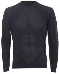 Armani Jeans - Jumper Crew Neck Cotton Blend Blue Sweater - Lyst