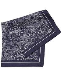 BOSS Black   Pocket Square Navy Blue Paisley Print Silk Scarf   Lyst
