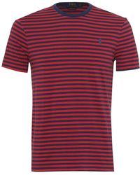 Ralph Lauren - Striped T-shirt, Crew Neck Navy Blue Red Tee - Lyst