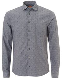 BOSS by Hugo Boss - Epop All Over Geometric Slim Fit Grey Shirt - Lyst