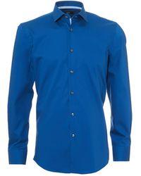 BOSS - Jesse Shirt, Geometric Print Trim Slim Fit Royal Blue Shirt - Lyst