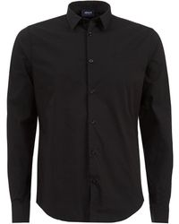 Armani Jeans - Plain Long Sleeved Stretch Cotton Black Shirt - Lyst