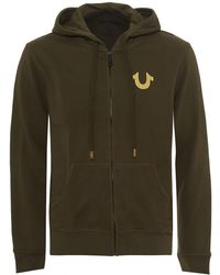 True Religion - Gold Foil Buddha Hoodie, Zip Up Khaki Green Sweatshirt - Lyst