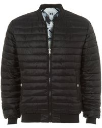 Versace Jeans - Reversible Bomber Jacket, Black/silver Geometric Puffa Coat - Lyst