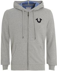 True Religion - Hoodie Grey Buddha Graphic Zip Up Hooded Jumper - Lyst