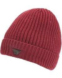 Armani - Ribbed Wool Logo Badge Bordeaux Beanie Hat - Lyst
