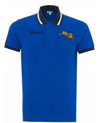 KENZO - Tiger Motif Polo Shirt, Royal Blue Polo - Lyst