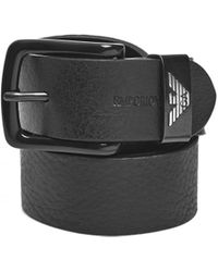 Emporio Armani - Keeper Large Eagle Logo Black Leather Belt - Lyst