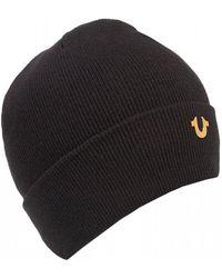 True Religion - Metal Logo Black Beanie Hat - Lyst
