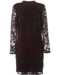 I Blues - Leccio High Neck Dress, Black/purple Lace Dress - Lyst