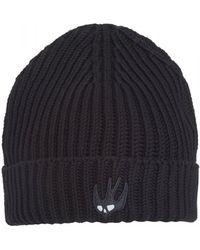 McQ - Swallow Logo Beanie, Ribbed Cotton Darkest Black Hat - Lyst