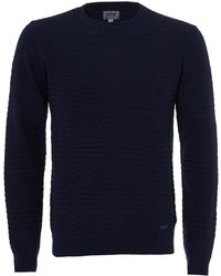 Armani - Dotted Panel Knit Jumper, Crew Neck Navy Sweater - Lyst