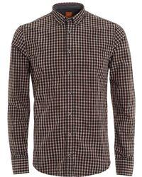BOSS by Hugo Boss - Edipoe Black Pink Check Slim Fit Shirt - Lyst