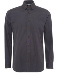 Vivienne Westwood - Vivienne Westwood Buttoned Collar Shirt, Contrast Button Charcoal Grey Shirt - Lyst