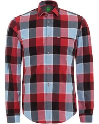 BOSS Green | C-bansi Shirt, Grey Red Checked Shirt | Lyst