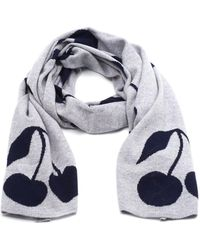 Cocoa Cashmere | All Over Cherry Print Grey Scarf | Lyst