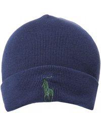 Ralph Lauren Large Logo Hunter Navy Blue Beanie Hat