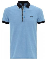 ca9756fa Emporio Armani Tipped Sky Blue Polo Shirt in Blue for Men - Lyst