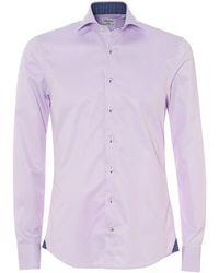 Stenstroms - Textured Geometric Slim Fit Lilac Shirt - Lyst