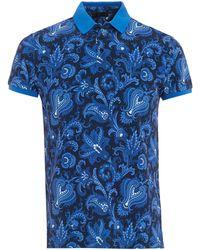 Etro | Floral Print Polo Shirt | Lyst