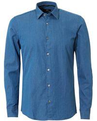BOSS - Reid_f Denim Look Slim Fit Indigo Shirt - Lyst