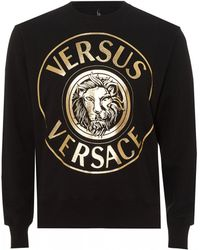 Versus - Lion Circle Print Sweatshirt, Black And Gold Sweat - Lyst