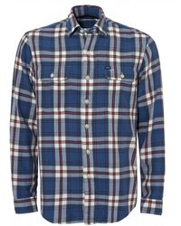 Ralph Lauren Twill Check Shirt, Cobalt Blue Regular Fit Shirt