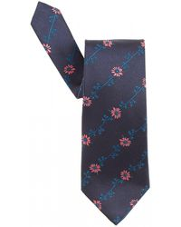 Etro - Flower Jacquard Navy Blue Tie - Lyst