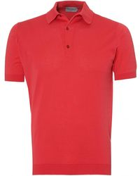 John Smedley - Adrian Polo Shirt, Sea Island Cotton Ruche Red Polo - Lyst