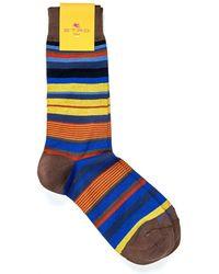 Etro - Socks, Horizontal Stripe Blue Brown Yellow Socks - Lyst