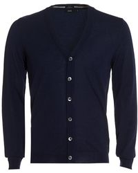 BOSS Black - Mardon Cardigan, Slim Fit Navy Blue Merino Wool Cardigan - Lyst