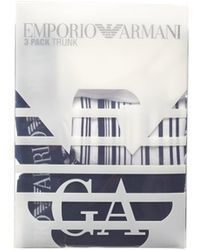 Emporio Armani - Three Pack Boxers, Plain Striped Navy White Trunks - Lyst