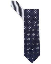 Etro - Paisley, Dots & Stripes Print Navy Blue Tie - Lyst
