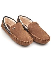 Barbour - Lifestyle Monty Moccasin Camel Slippers - Lyst