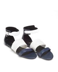 Armani Jeans | Sandals, Woven Strap Navy Blue White Shoes | Lyst