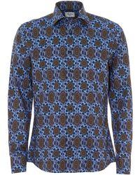 Stenstroms - Medallion Patterned Navy Blue Slim Fit Shirt - Lyst