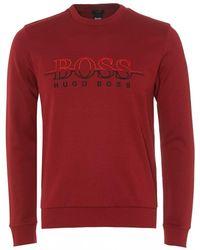 BOSS - Salbo Logo Sweatshirt, Rhubarb Red Crew Neck Sweat - Lyst