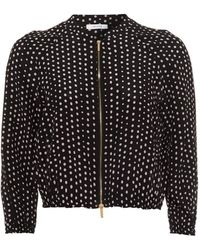 I Blues - Silk Bomber Jacket, Pink Dot Print Black Jacket - Lyst