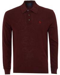 Ralph Lauren - Long Sleeve Merino Polo, Burgundy Polo Shirt - Lyst