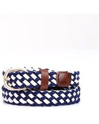 Weekend by Maxmara - Candela Belt, Leather Navy Blue White Plait - Lyst