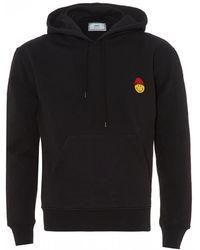 AMI - Smiley Patch Hoodie, Black Cotton Hooded Sweatshirt - Lyst