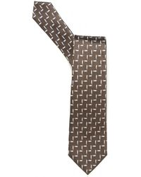 Emporio Armani - Jacquard Linked Lines Biscuit Brown Pattern Tie - Lyst