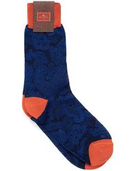 Etro - Paisley Print Contrast Cuff Navy Black Socks - Lyst