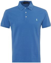 Ralph Lauren - Mesh Polo Shirt, Embroidered Logo Blue Polo - Lyst