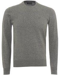 Emporio Armani - Contrast Subtle Piping Knit, Regular Fit Grey Jumper - Lyst