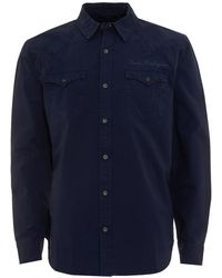 True Religion - Western Style Scripted Logo Navy Blue Shirt - Lyst