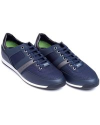BOSS Athleisure - Maze Low Trainer, Quilted Panel Navy Blue Sneakers - Lyst