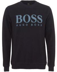 BOSS Orange   Walker Sweatshirt, Faded Large Boss Logo Navy Blue Jumper   Lyst