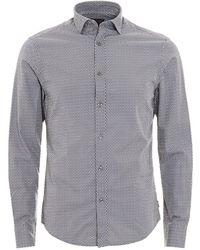 Armani Jeans - Geometric Print Grey Cotton Shirt - Lyst